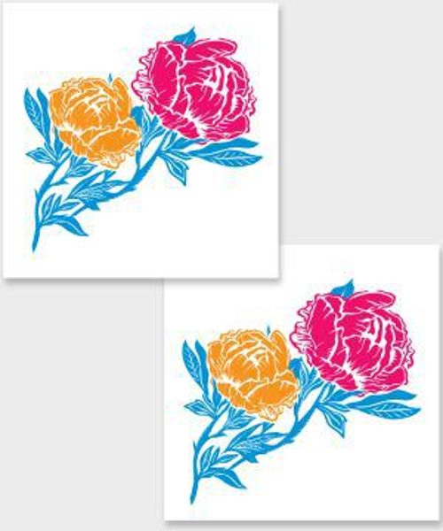 Temporary tattoo Neon flowers 2 pcs.
