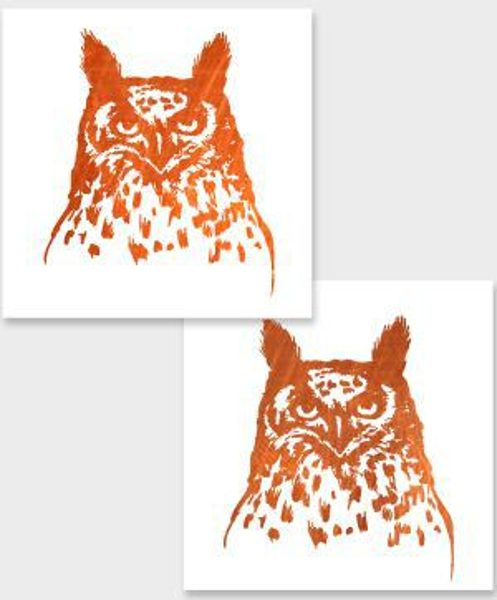 Temporary tattoo Copper owl 2 pcs.