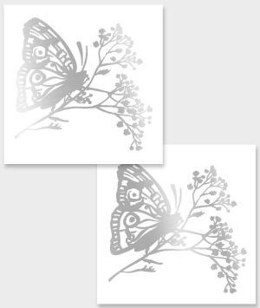 Temporary tattoo Black & white butterfly 2 pcs.